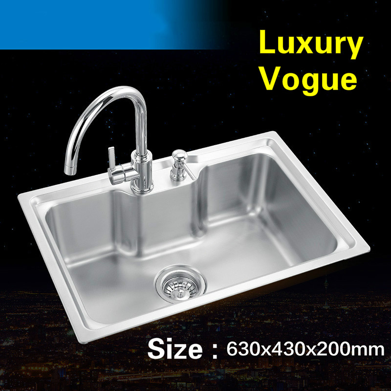 Free shipping Standard luxurious mini kitchen single trough sink food grade 304 stainless steel whole drawing hot sell 63×43 CM
