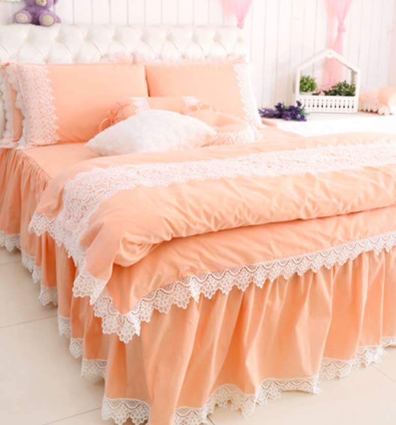 Princess Lace Pink Gray Purple Yellow Orange Bedding Sets,twin Full Queen  Cotton Home Textile Bed Skirt Pillow Case Duvet Cover In Bedding Sets From  Home ...