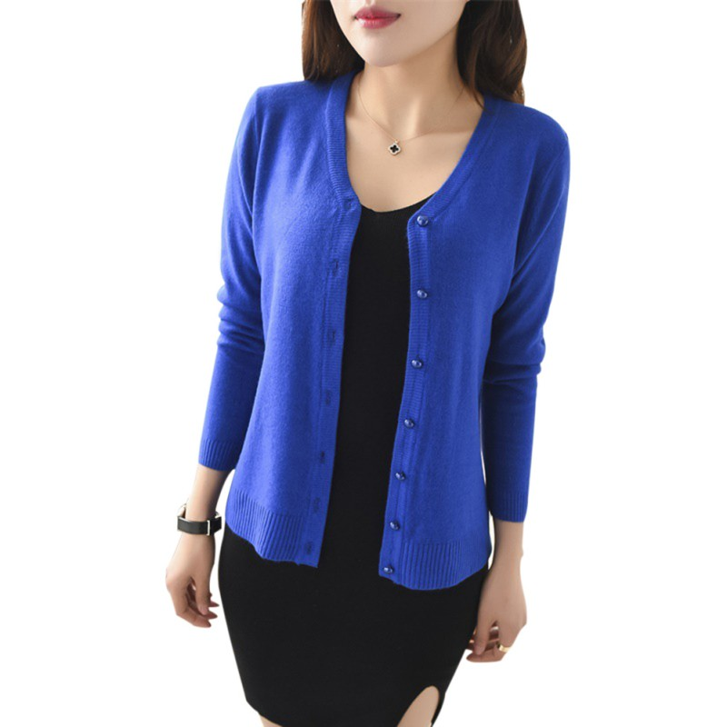45d5f0c79a Women Candy Color V neck Cardigan Long Sleeve Slim Knit Knitwear Casual  Crochet Sweater Knitted Cardigan Sweater Tops-in Cardigans from Women s  Clothing on ...