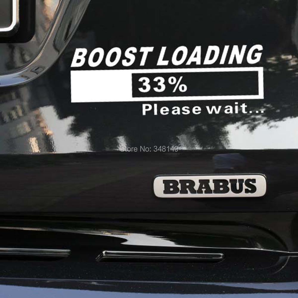 Car window sticker designs - Newest Design Funny Car Stickers Decal Turbo Charger Boost Loading For Tesla Volkswagen Golf 7 Ford Chevrolet Honda Hyundai Lada