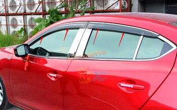 Chrome striscia Finestra Visiera Pioggia Sun Guard Deflettori Per Mazda Atenza/M6 m 6 2013 2014 2015