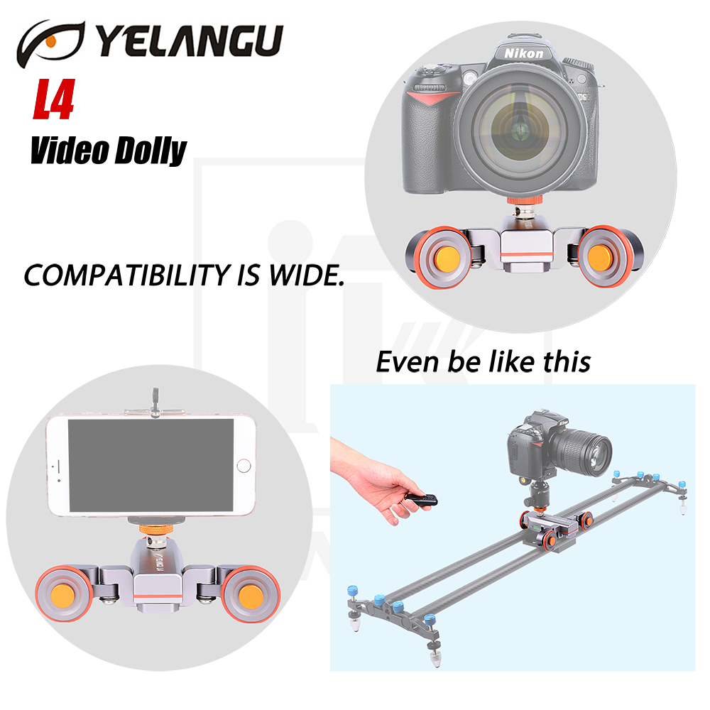 YELANGU L4 Wireless Remote Motorized Electric Track Slider Dolly Car Video Pulley Rolling Skater for DSLR Camcorder Cellphone