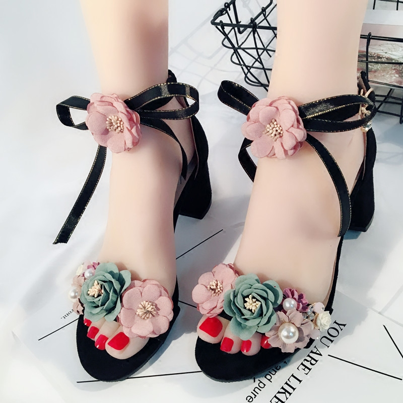 Summer Women Flowers Open Toed Sandals Lady Bow Ribbon Decor Shoes Sweet Pink Black Flock Ankle Strap Pumps 5cm Thick High Heel new arrivals pale pink shiny leather kawaii rabbit ankle strap sweet lolita shoes 5 5cm heel pumps