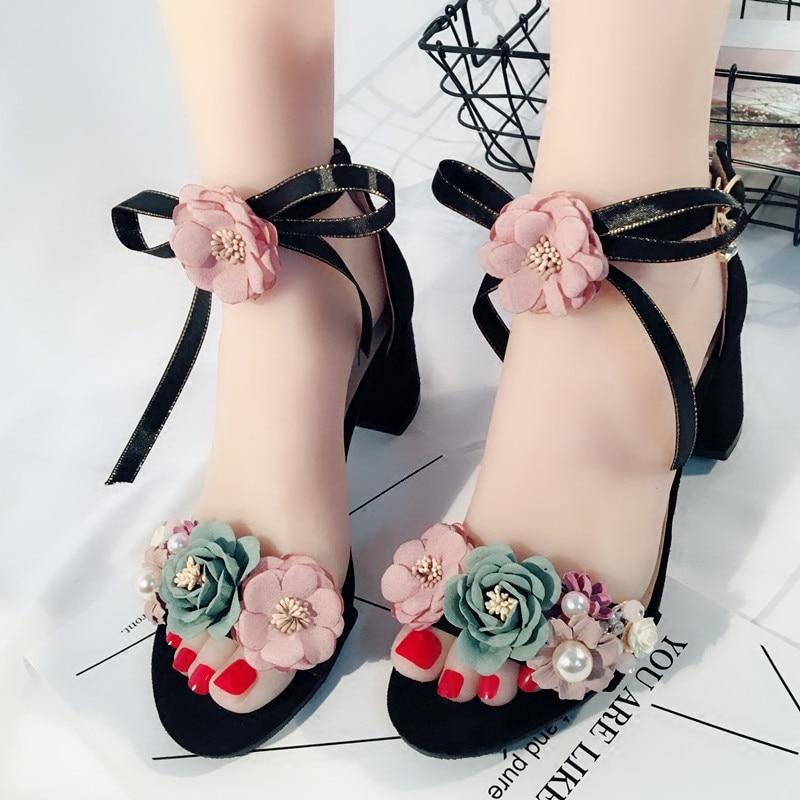 ฤดูร้อนผู้หญิงดอกไม้เปิด Toed รองเท้าแตะเลดี้โบว์ริบบิ้นตกแต่งรองเท้าหวานสีชมพู Flock ข้อเท้าปั๊ม 5 ซม. รองเท้าส้นสูงหนา-ใน รองเท้าส้นสูง จาก รองเท้า บน   1