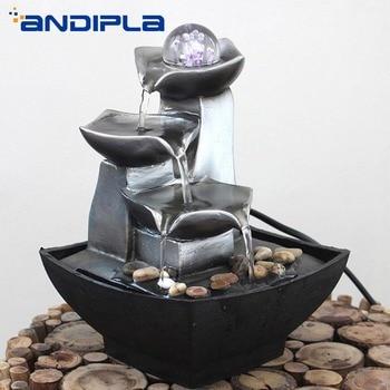 110-240V Mini Water Fountain Feature Feng Shui Crystal Ball Lucky Desktop Ornament Office Bonsai Home Decor Mascot Business Gift