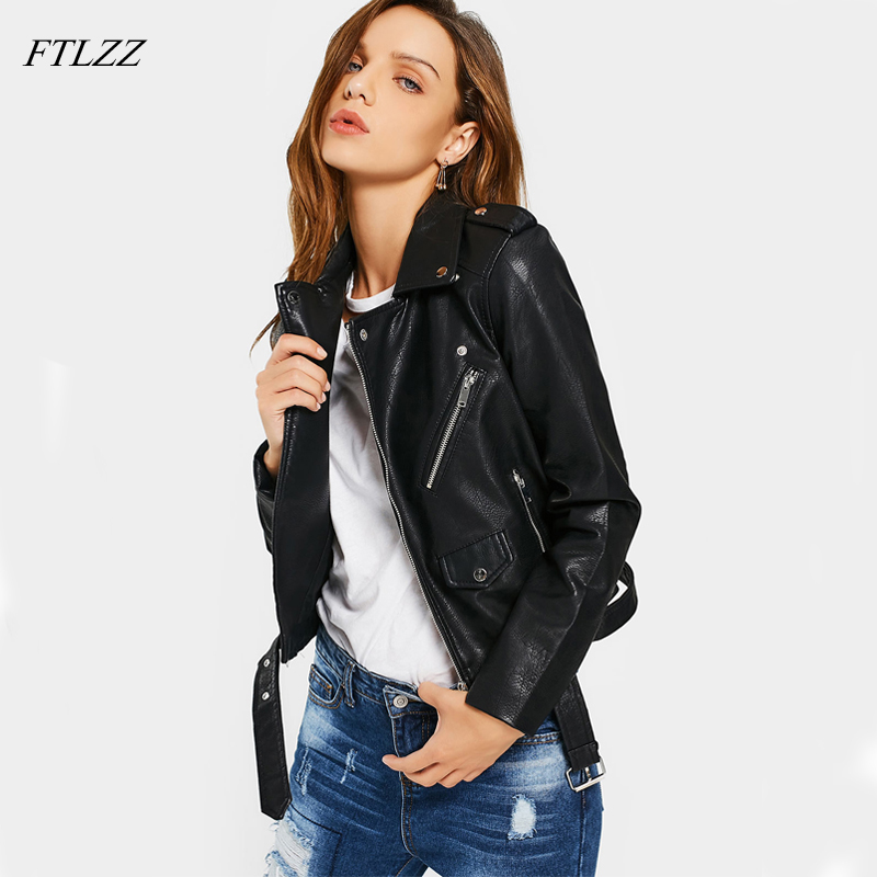 Ftlzz   Leather   Jacket Women Faux   Leather   Soft PU Jackets Long Sleeve Short Biker Coat Black Pink Punk Outwear