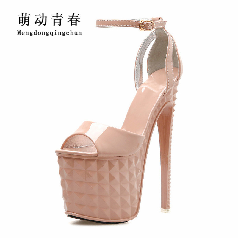 19CM High Heeled Sandals Women New Fashion Brand Party Shoes Platform Sandals Pumps Open Toe Buckle Strap T Shows Pumps Zapatos