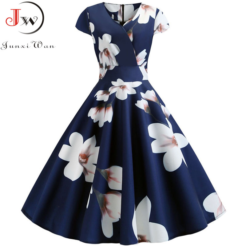 2019 Autumn Women Floral Print Vintage Dress Robe Femme Summer V Neck Elegant Short Sleeve Office Party Dresses Plus Size