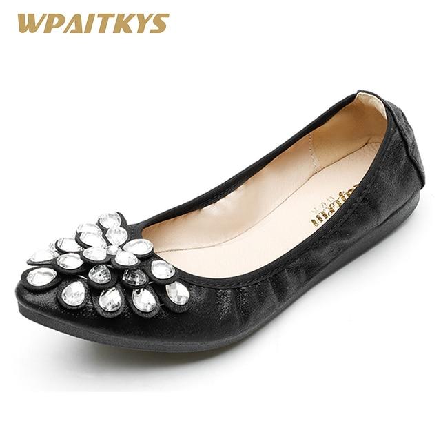 e372d96116eb9c 2018 Black Golden Silver Rhinestone Flat Women Shoes Fashion Casual Sequin  Cloth Crystal Ballet Flats Fold Up Dance Shoes Woman