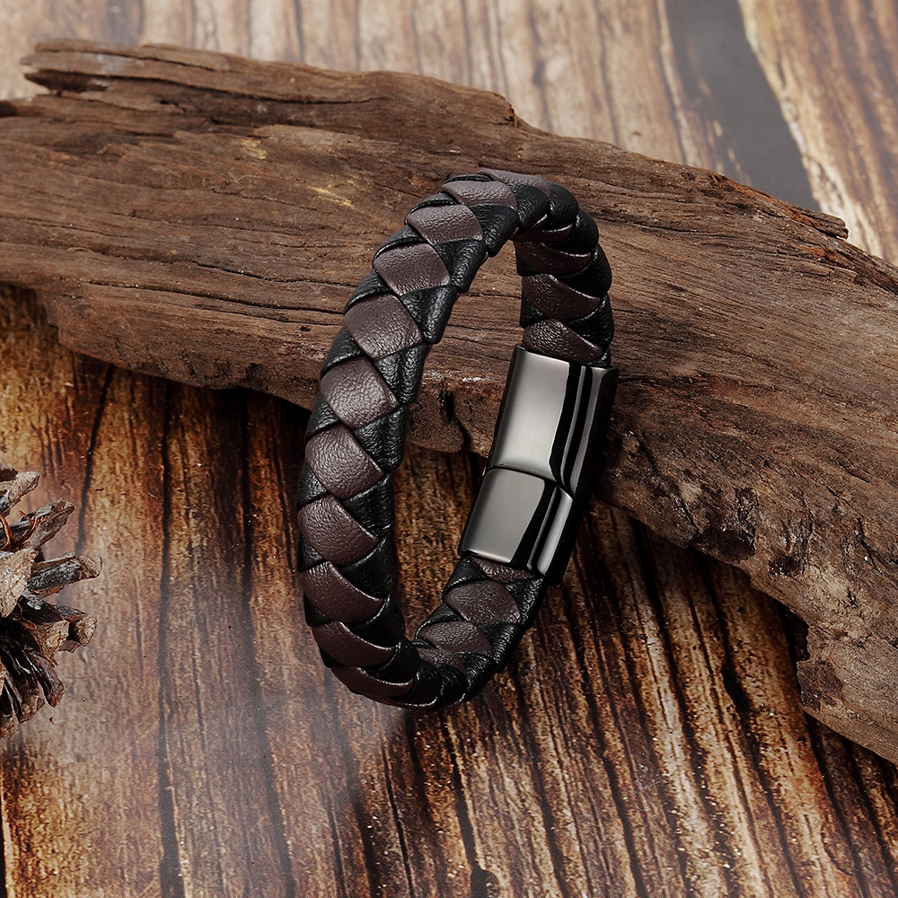 2019 Stainless Steel Bracelet Men Genuine Leather Bracelets Simple Style Ladies Black Color Leather Bracelet for Women