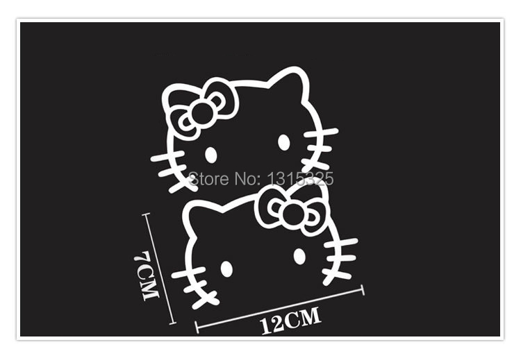 Aliauto 2 x Hello Kitty Car Rearview mirror Stickers And Decal for Toyota Chevrolet Cruze vw Skoda Tesla Hyundai Kia golf 7 polo