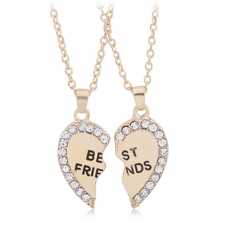 2 pçs/set Quebra Quebrado Coração Pingente De Cristal Colar Para BFF dos Melhores Amigos Amizade Jóias Xmas Presente Do Partido Da Menina Das Mulheres