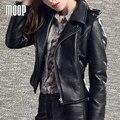 Натуральная кожа куртки 100% овчины мотоцикл пальто куртки off-center zip placket галечный кожаная куртка croped feminino LT241