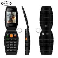 Three SIM Original SERVO V7 2 4 Flip Phone 3 SIM Card 3 Standby Flashlight GPRS