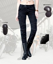 Бесплатная Доставка 2016 uglyBROS Женщин Перину Г-Жа мотоцикл езда брюки спортивные брюки черные джинсы