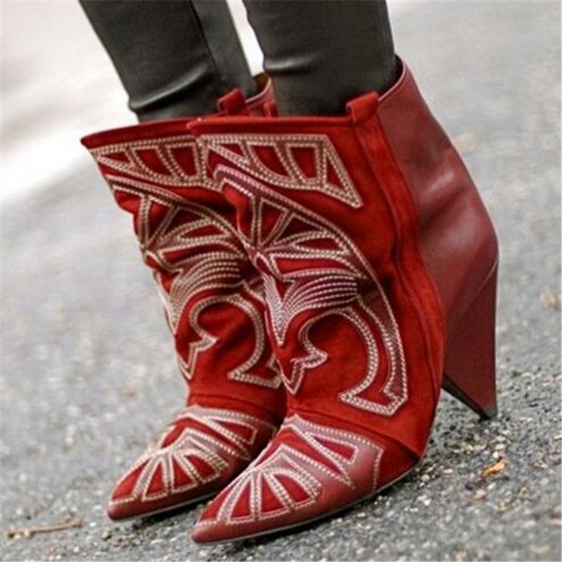 Fashion Street Style Women Boots Berry Embroidered Leather Suede Ankle Boots Spike High Heels Autumn Winter Boots Botas Mujer hot fashion berry embroidered lady spike heels shoe mujer red suede ankle boots cowboy short boots women high heels boots shoes