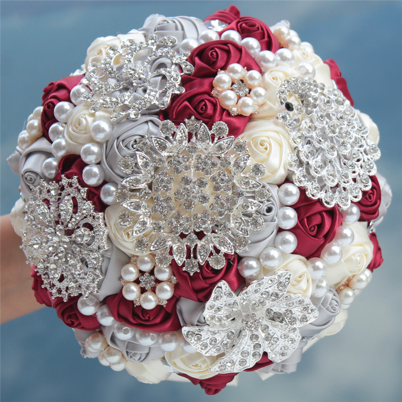 Haute qualité fleurs artificielles soie cristal Satin ruban Rose fleur décoration mariages, églises mariée mariage bouquet W230