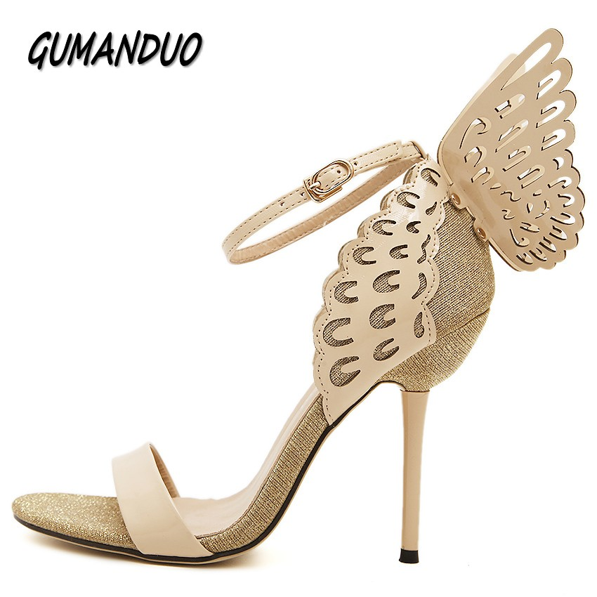 GUMANDUO summer dream Butterfly high heels sandals shoes woman party wedding nightclub ladies peep toe sexy pumps shoes buckle 2017 summer sweet girl pink floral rhinestone buckle strap high heels women crystal sandals peep toe woman party wedding shoes