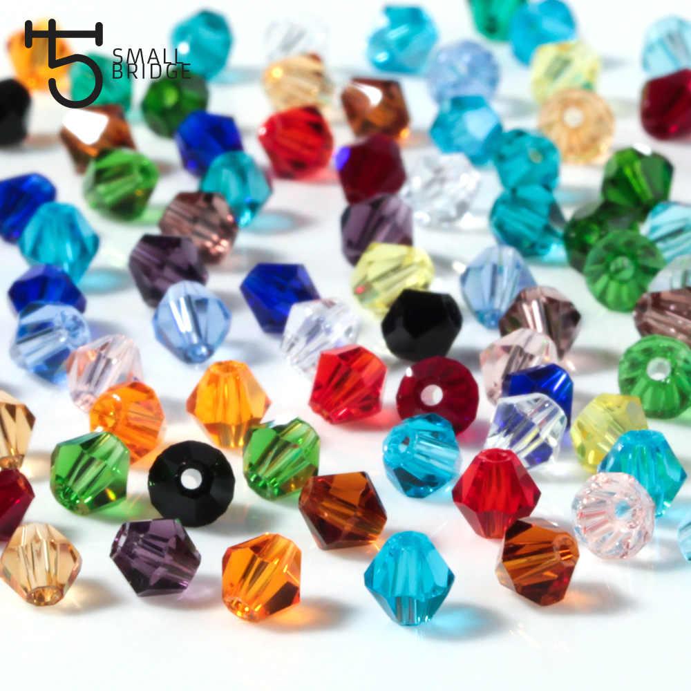 3 4 6Mm Austria Bicone Kristal Beads untuk Membuat Perhiasan Diy Aksesoris Beraneka Ragam Glass Spacer Beads Grosir