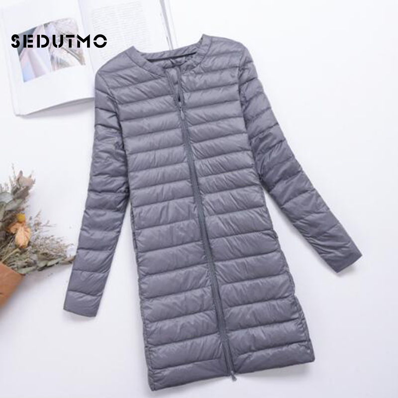 SEDUTMO Winter Plus Size 4XL Womens   Down   Jackets Long Ultra Light Duck   Down     Coat   Puffer Jacket Slim Autumn Parkas ED488