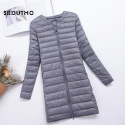SEDUTMO Winter Plus Size 4XL Womens Down Jackets Long Ultra Light Duck Down Coat Puffer Jacket Slim Autumn Parkas ED488