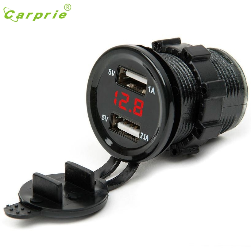 car-charger 12V DC Motorcycle Cars Dual USB LED Socket Voltage Voltmeter Panel Car Charger fm transmitter bluetooth August 31