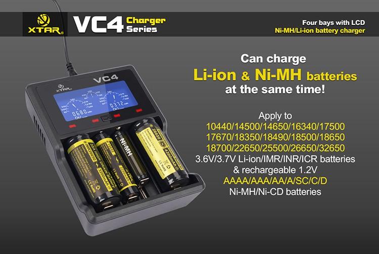 ถูก ต้นฉบับXTAR VC4จอแอลซีดีUSBชาร์จแบตเตอรี่สำรองสำหรับLi-Ion Ni-Mh 18650 26650 32650 14500 AA AAA