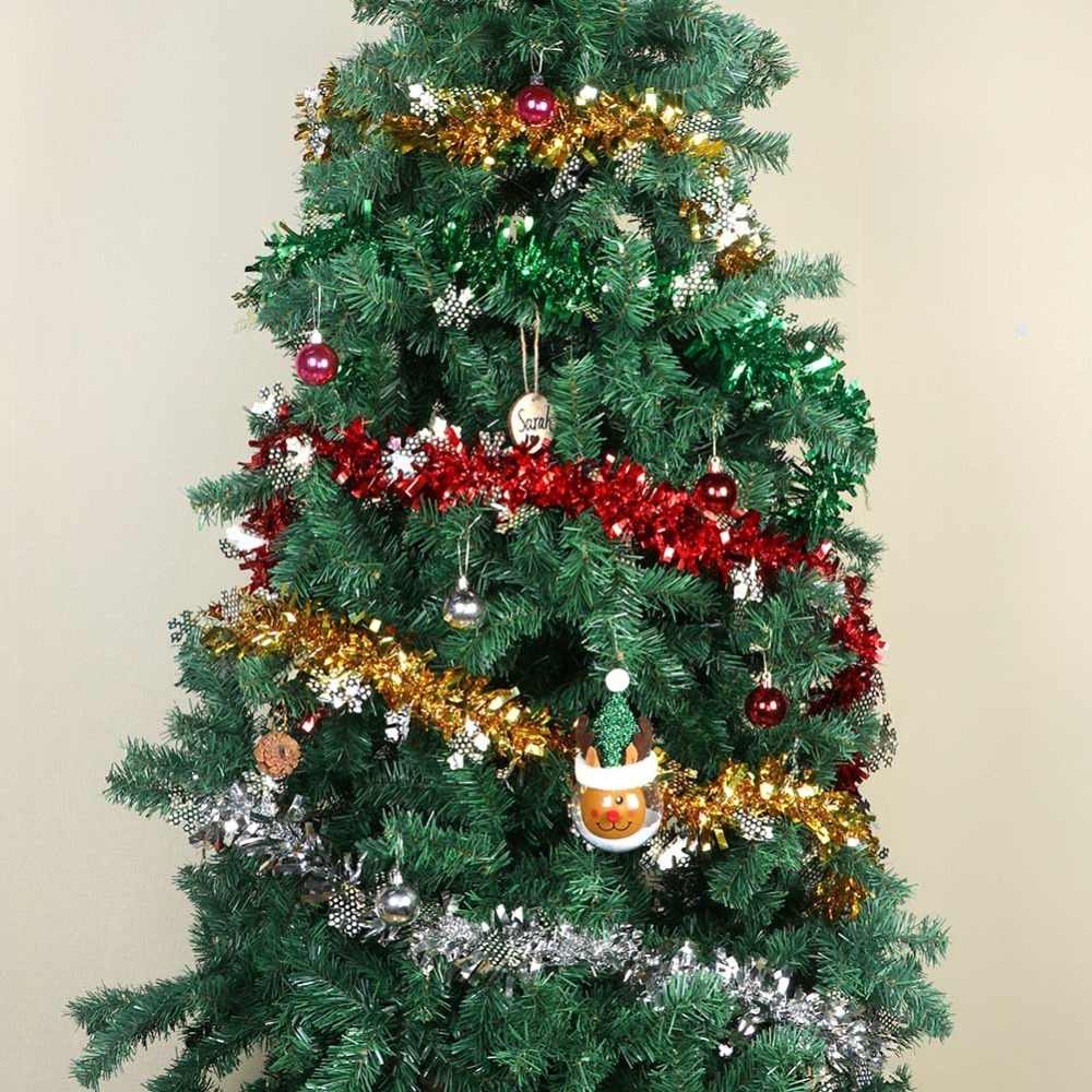 new concept 20c51 cd3b3 OurWarm 2M Christmas Tree Tinsel Garland Ribbon Bar Shiny Tops Christmas  Tree Hanging Ornaments Home Decoration New Year 2018