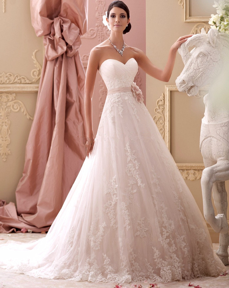 2018 Hot Sale Elegant A Line With Sweetheart Floor Length Chapel Train Lace Bridal Gown Flower Mother Of The Bride Dresses