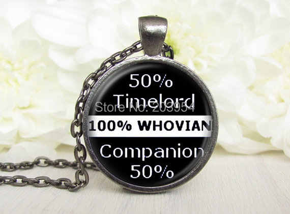 Steampunk uk movie dr doctor who words timelord 50% Necklace 1pcs/lot bronze or silver Glass Pendant fashion vintage mens womens