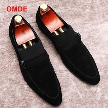 OMDE Black Men Suede Shoes New Arrival Pointed Toe Loafers Men Slip On Casual Shoes High Quality Men's Smoking Flats