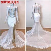 Sexy Split Side Evening Dresses High Neck Lace Appliques Hollow Out Long Sleeves Mermaid Prom Dress 2019 Cocktail Party Gown