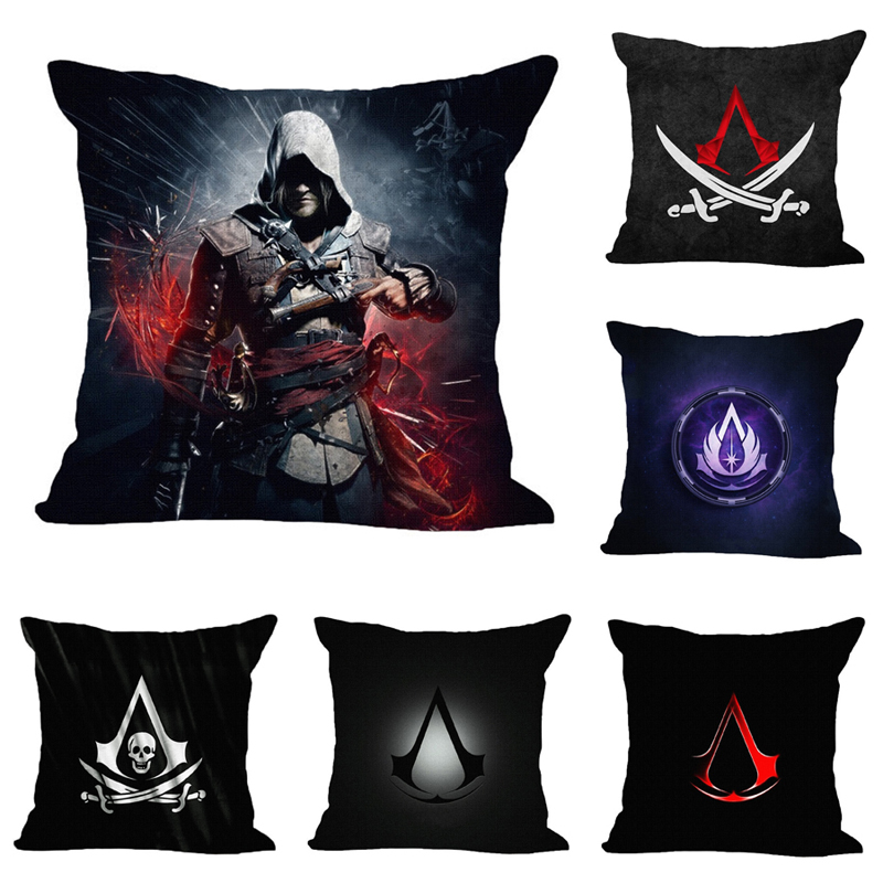 45*45cm Real High Qulity Cotton Linen Assassins Creed Printed Decorative Cushion Cover Pillow Case Car Seat Pillowcase BZTYX001