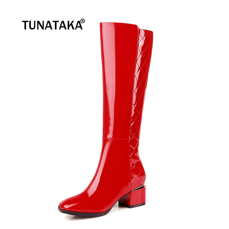 Women Genuine Leather Comfort Low Heel Knee High Boots Fashion Zipper Square Toe Warm Winter Shoes Black Red White