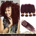 7А Бордовый Бразильские Волосы 99J Странный Вьющиеся Девственные Волосы Красное вино вьющиеся Волосы 4 Связки Вьющиеся Переплетения Человеческих Волос С Закрытие 4x4Lace