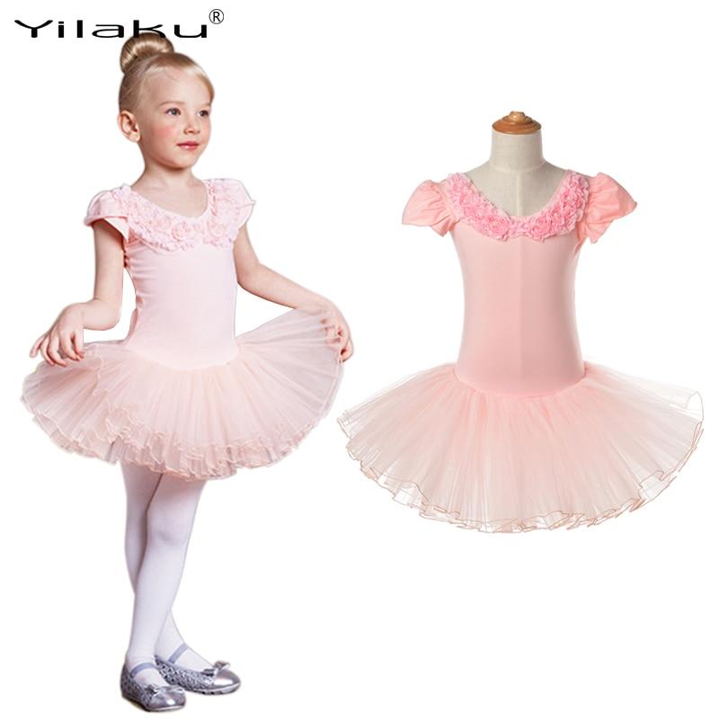 Classical Girl Ballet Tutu Dress Children Dance Costume Petal Sleeve Girls Lace Dresses Floral Kids Girl Ballerina Dress CA385