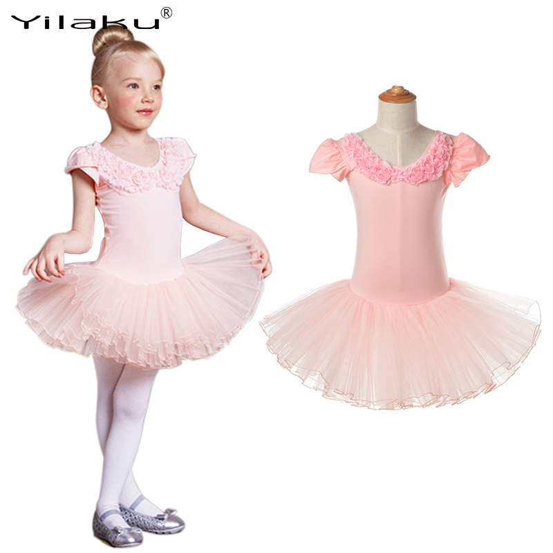 Yilaku Girl Ballet Dress Children Tutu Dance Costume Petal Sleeve Girls Lace Dresses Floral Kids Girl Ballerina Dress CA385 new girls ballet costumes sleeveless leotards dance dress ballet tutu gymnastics leotard acrobatics dancewear dress