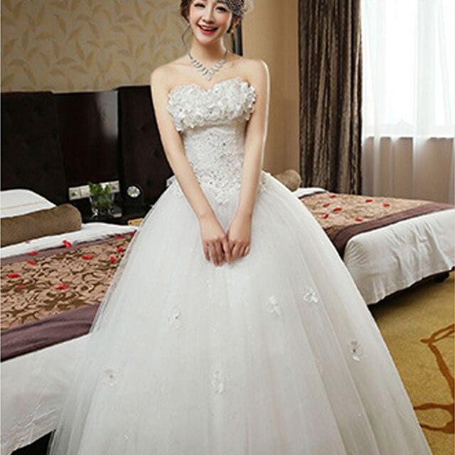 Vestidos De Noiva Robe Mariage Lace White Wedding Dresses Strapless Gowns Slim Fit Korean
