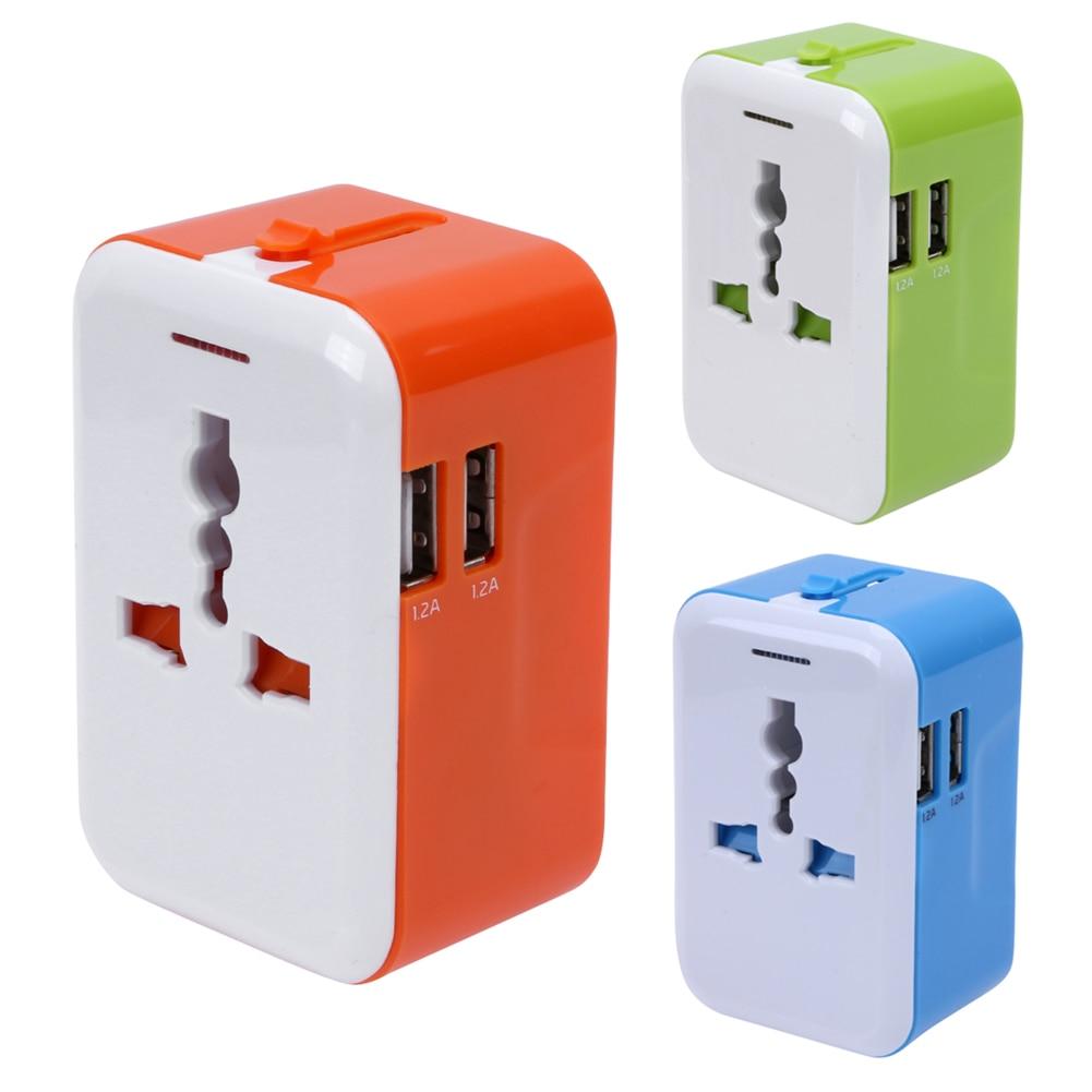 Universal Travel Socket 100V-240V Dual USB Travel Power Adapter Converter International Plug Adaptor Wall Plug Worldwide gift