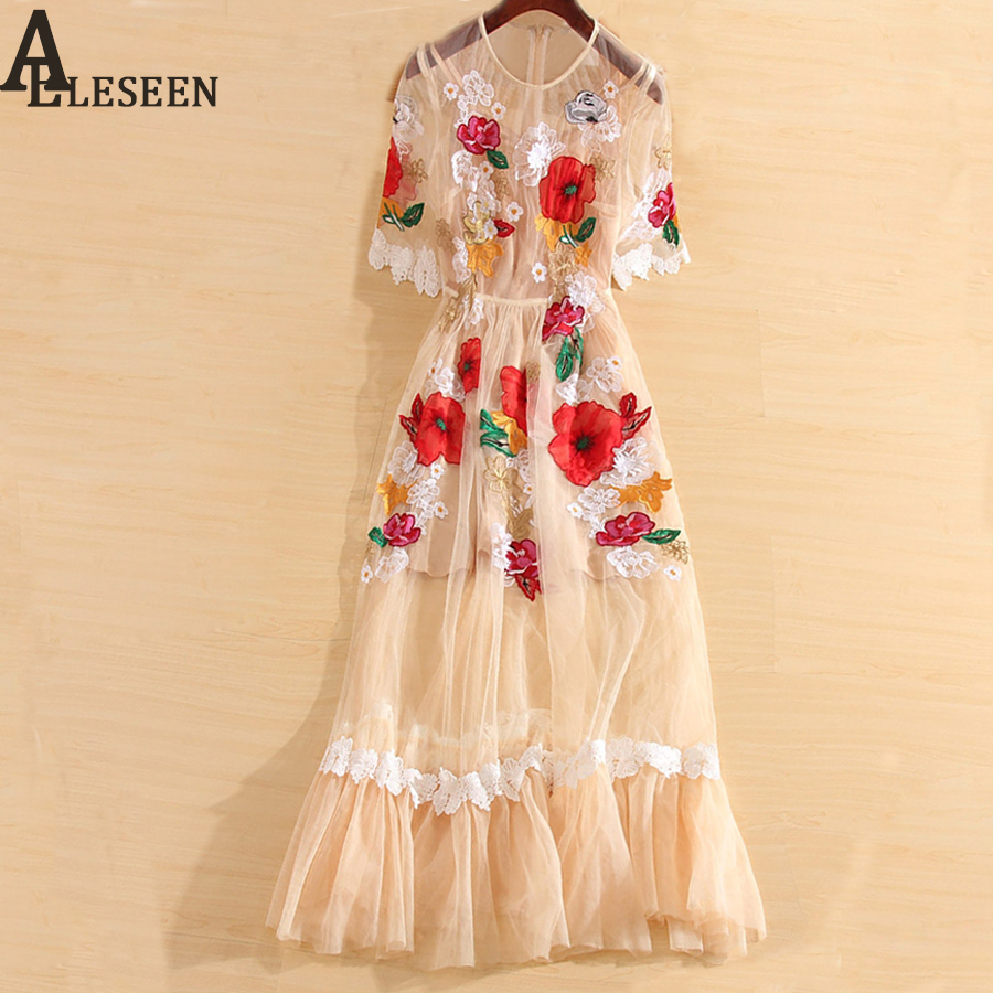Luxury Fairy Dresses 2018 Summer Women Short Sleeve Floral Embroidery Beige Fashion High Quality Mesh Long
