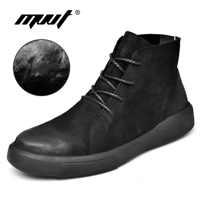 MVVT Size 47 Men Winter Boots With Fur Top Split Leather Boots Men Ankle Boots Man Fashion Cushioning Soft Sole Warm Shoes