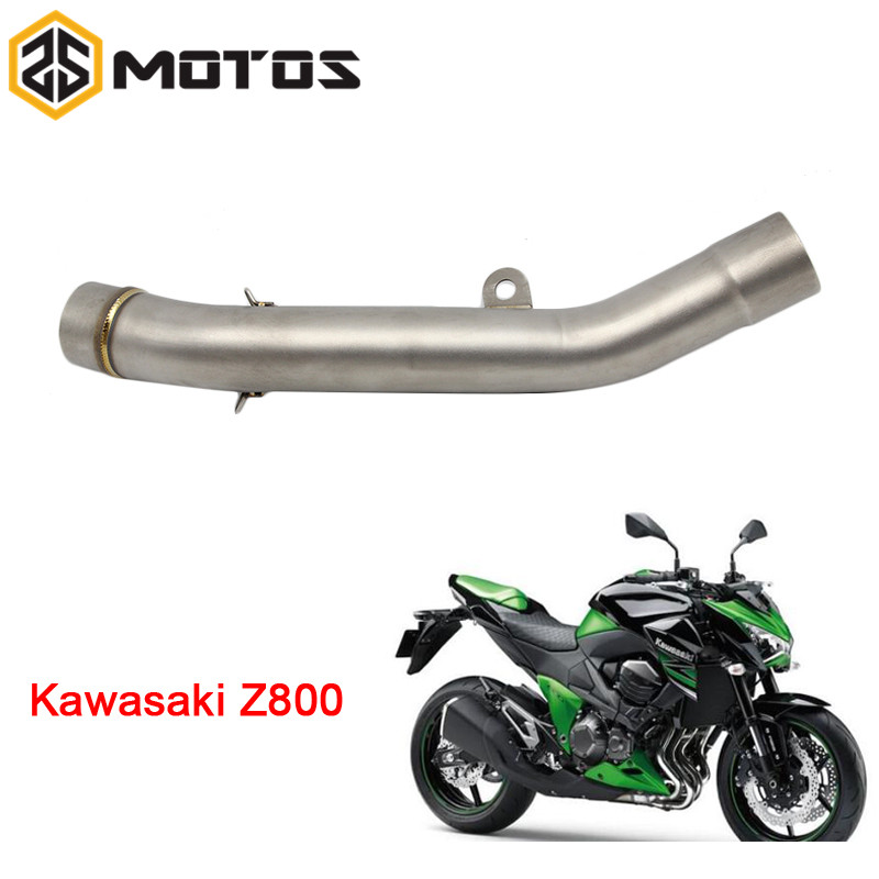 ZS MOTOS Moto Échappement Milieu Tuyau Silencieux Rond pour Kawasaki Z800 2013-2016 Sans D'échappement