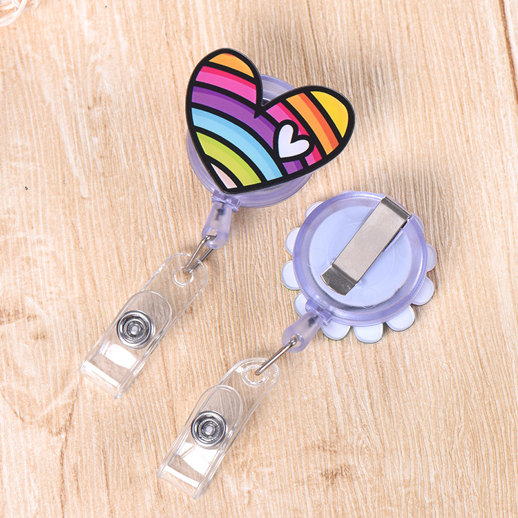 1Pcs Cartoon Rainbow Smile Heart Clover Donuts Mini Retractable Badge Reel Pull Key ID Name Nurse Id Card Holder Badge Holder