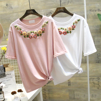 2018 Women Loose Cotton T Shirt New Korean Style Women S Summer Fashion Floral Embroidery Beaded