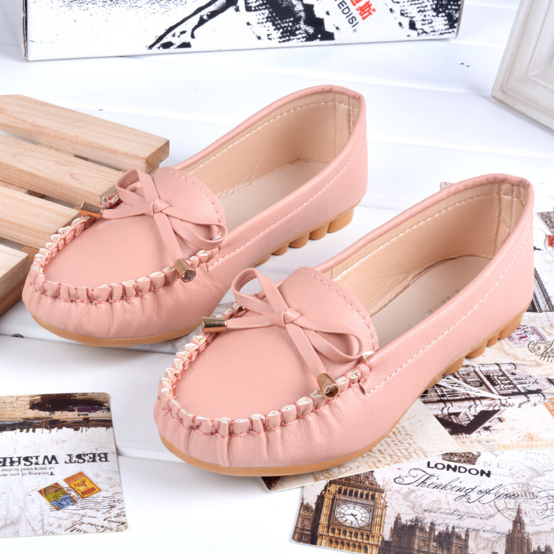 New Women Loafers Flats Oxford Shoes Soft Bottom Skid Comfortable Round Toe Flats Nurse Shoes Sweet Lovly Bow Pink Women Shoes in Women 39 s Flats from Shoes