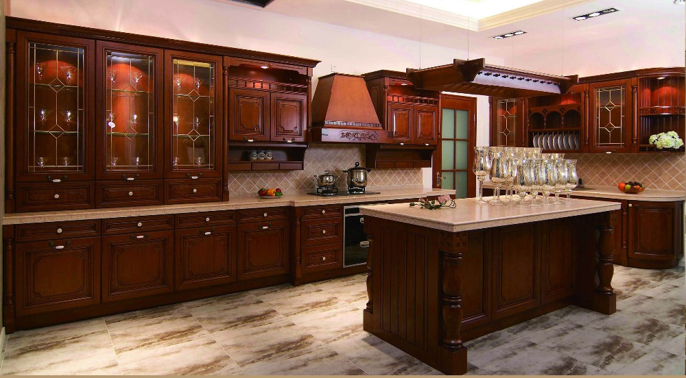 All wood kitchen cabinets with wood dish rack  hood cover