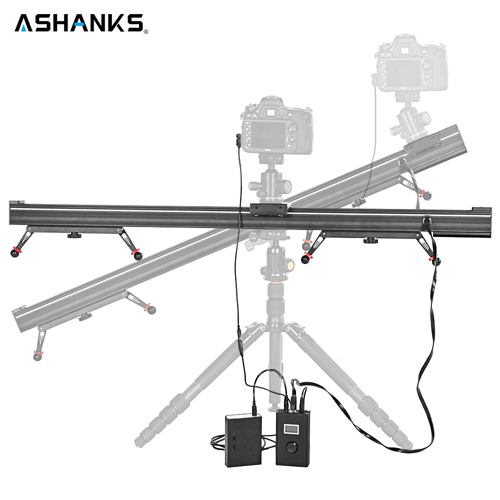 ASHANKS Aluminum Camera Slide Motorized Electric Delay Slider Track Rail Stabilizer for Photography Canon DSLR TimeLapse Video ashanks 80cm 6 bearings carbon fiber slider dslr camera dv track slide