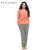 Conjuntos de pijama primavera outono o-pescoço manga longa de algodão listrado ekouaer mulheres Sleepwear Top e Calça de duas peças um conjunto Ocasional estilo