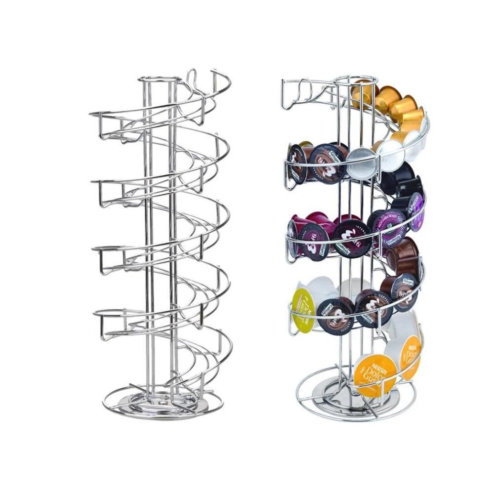 Revolving Rotating Capsule Coffee Pod Holder Tower Stand Rack Dolce Gusto Nespre