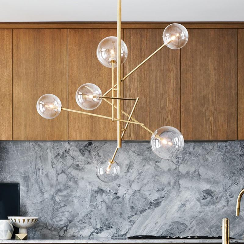 Loft Nordique Fer plafonnier salon créatif en verre clair Vintage luminaire plafonnier Ramification lumières À Bulles